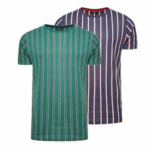 Mens T Shirt Brave Soul Cript Crew Neck Short Sleeve Vertical Stripe Tee