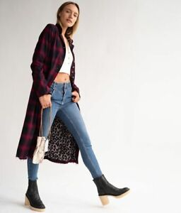 Free People ODESSA DUSTER Midi Length Coat Red Check RRP £188 NEW sample