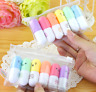 6Pcs/set Mini Pill Shaped Highlighter Pens Smile Face Graffiti Marker Pen Gift