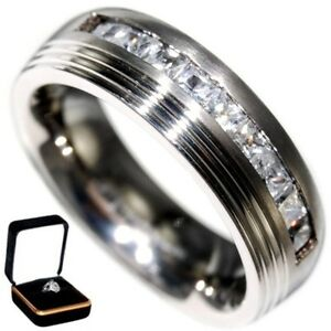 0.72CTW BAGUETTES BRILLIANT CUT WEDDING TITANIUM BAND RING w/ BOX size 9,11,12