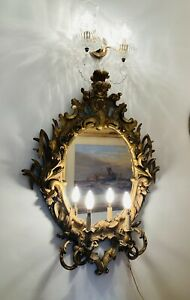 Fabulous Gilt Crested Mirror With Twin Arm Sconces By Thomas Ponsonby (c.1850)