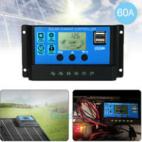 60A PWM Solar Panel Charge Controller Regulator 12V/24V Dual USB LCD Display