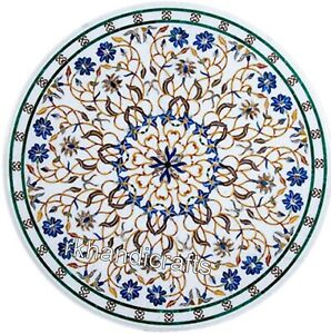 30 Inches Round Marble Table Top Floral Design with Gemstones Coffee Table top