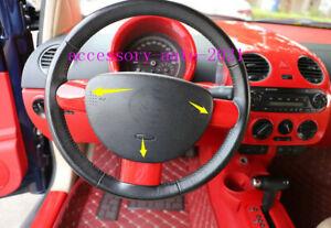 Fit For Volkswagen Beetle 2003-2010 Red Interior Steering Wheel Frame Cover Trim