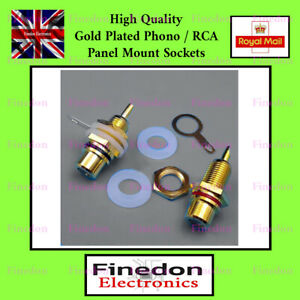 Pair High Quality Gold Plated Phono RCA Panel Chassis Mount Sockets Red / Black