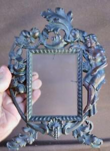 Antique Metal Photo Photograph Picture Frame Cast Iron Art Nouveau Woman Lady