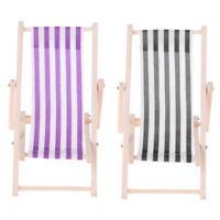 2pcs Doll Mini Beach Folding Chair for 1/12 Dollhouse Furniture Accessory