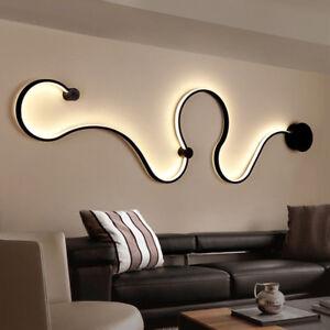 Creative Acrylic Curve Light Snake LED Lamp Nordic Led Belt Wall Sconce Decor