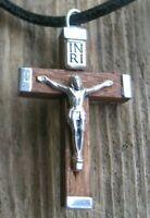 Jesus Kette Kreuz Herrenkette Holz Kreuzkette Lederkette Damenkette Halskette