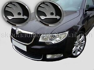 2X NEU SKODA Superb II 3T Emblem Logo CHROM/SCHWARZ (vorne + hinten) 3T4, 3T5
