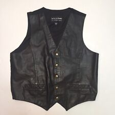 New ListingWilson's Leather Vest Brass Button Front Cloth Back Large Motorcycle Western