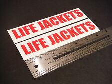 "Life Jackets Decal Red Marine Boat Safety 6.25"" Stickers (Pair)"