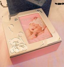 Bambina Rosa in legno INCERNERIATO Foto BOX REGALO NUOVO CON SCATOLA