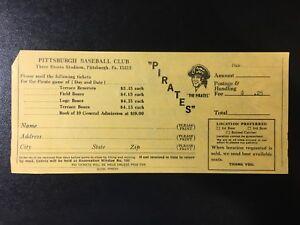 Vintage Pittsburgh Pirates Baseball Club Season Ticket Order Form