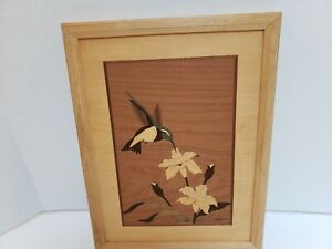 Beautiful Hummingbird Hudson River Inlay Exotic Wood Picture By Jeffrey Nelson