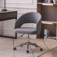 Swivel Home Office Desk Chair Linen Mid Back Armrest Task Chairs Adjustable Gray