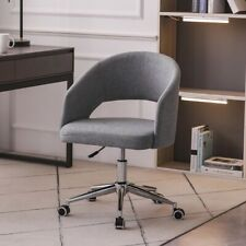 Swivel Home Office Desk Chair Linen Mid Back Armrest Task Chairs Adjustable Gray