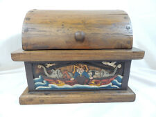 Noah's Ark Wooded Trunk THEY CAME TWO BY TWO Handcarved & Painted Hinged Lid