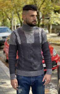 Maglione uomo maglia a Collo Alto colore Grigio Dolcevita - SALDI €.49 -60%