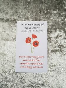 10 Personalised Poppy Seed Favour Packets Envelopes Funeral Memorial Poppies