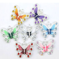 5/20/50X Silver Plated Enamel Butterfly Pendant Charms Jewelry Making 22*20mm