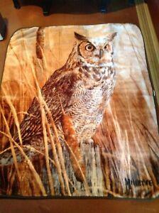 The Northwest Company Owl Plush Throw Blanket, super soft, 48x60, Millette, EUC!
