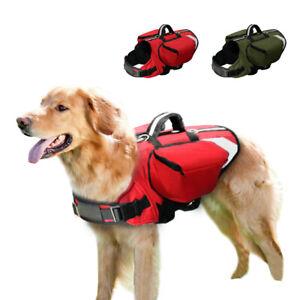 Reflective Dog Outdoor Saddle Bag Harness Travel Hiking Vest with Pocket Handle