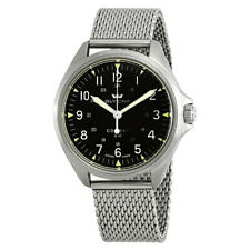 Glycine Mens 41mm Combat 7 Swiss Automatic Black Dial Sapphire Mesh Watch GL0237