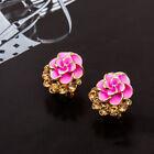 Elegant Girls Flower Peony Crystal Alloy Ear Studs Earrings Jewelry Gifts