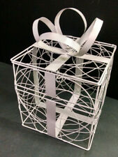 "White Wire Metal Mesh Wedding Card Basket With Slot, Lockable, 8"" Square"