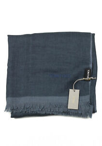 """New Tom Ford Blueish Gray Cashmere Silk Signature Scarf 75"""" / 24"""""""