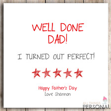 Personalised Dad Daddy Father Fathers Father's Day Joke Funny Cheeky Card D2
