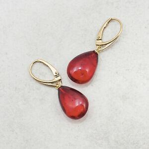 Teardrop Red Amber Earrings Ruby Baltic Amber Earrings for Woman Drop Earrings