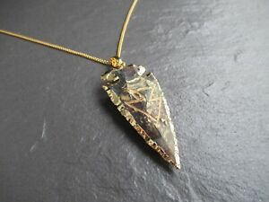 Mens Ladies Arrowhead Necklace 24K Gold Trim Stone Viking Rune Pendant Chain