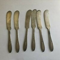 Vintage Carlton Silverplate Butter Spreaders Scroll Floral Pattern set of 6