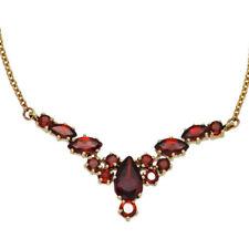 Echtschmuck-Halsketten & -Anhänger im Collier-Stil aus Gelbgold Granate