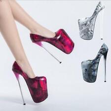 Sexy Stilettos 22cm Extreme High Heels Plateau Pumps Nachtclub Damen Schuhe 47