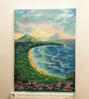 "Art16""/12"" Hawaii ,sunset,oil painting, seascape, landscape,ocean view"