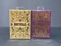 2 DECKS Bicycle Purple Majesty & Golden Jubilee playing cards set SEALED!