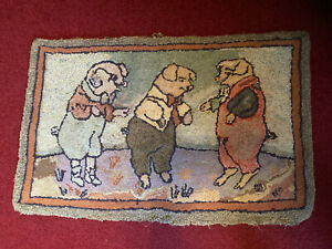 Antique Folk Art Hooked Rug 3 Pigs