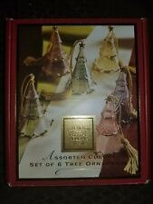 LENOX FOR THE HOLIDAYS SET OF 6 TREE ORNAMENTS (CRYSTAL, ASSORTED COLORS)