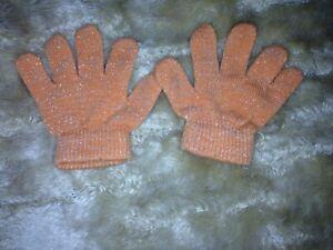 Baby Handschuhe Orange Glitzer one size