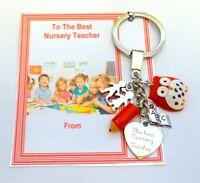 Best Nursery Teacher Thank you Key Ring Gift Term on Gift Card Wise Owl charm