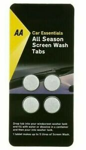 AA  SCREENWASH TABLETS - CAR ESSENTIALS - QUALITY WINDSCREEN CLEANING  PACK OF 4