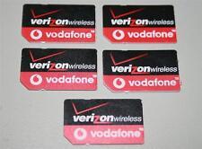 Lot of 5 VERIZON WIRELESS Vodafone Global World SIM CARD 3G Wholesale