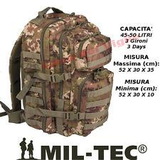 Zaino Assault Incursore 50 Litri Militare Molle MilTec Vegetato Italiano Esercit