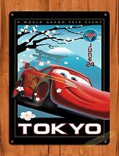 """TIN-UPS Walt Disney Tin Sign """"Cars Tokyo"""" Movie Ride Art Poster"""
