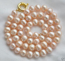 """Real Huge 10-11mm Natural Pink Freshwater Cultured Pearl Necklace 18""""AAA"""