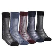 US 3 pairs Men Sheer Jacquard Cold Thin Summer Socks Dress Socks Silk Stockings