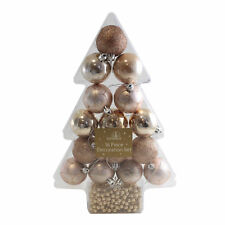 16 Piece Christmas Decoration Collection - 50mm Baubles and Beads - Rose Gold